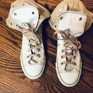 Converse Cream High Top Fold Over Sneakers Size 5